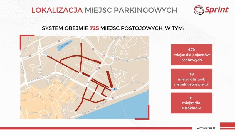 Lokalizacja miejsc parkingowych objętych systemem