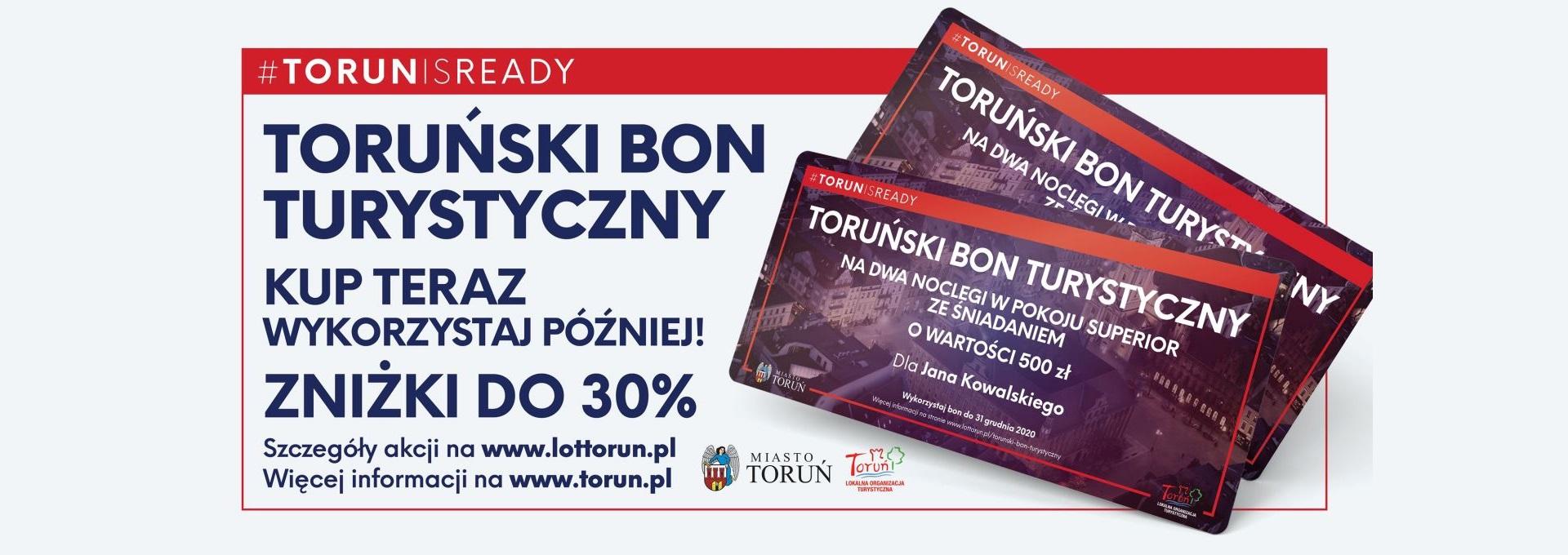 Napis: Toruński Bon Turystyczny. Kup teraz, wykorzystaj później!