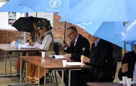 Grażyna Rutkowska-Kusa, Marta Parfieniuk-Białowicz, Mariusz Wójtowicz, prezydent Michał Zaleski