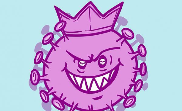 Grafika przedstawiająca w zabawny sposób różowego koronawirusa
