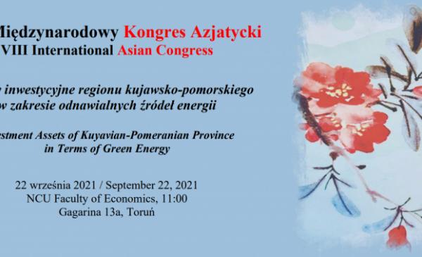 Plakat informujący o panelu energetycznym podczas VIII Kongresu Azjatyckiego