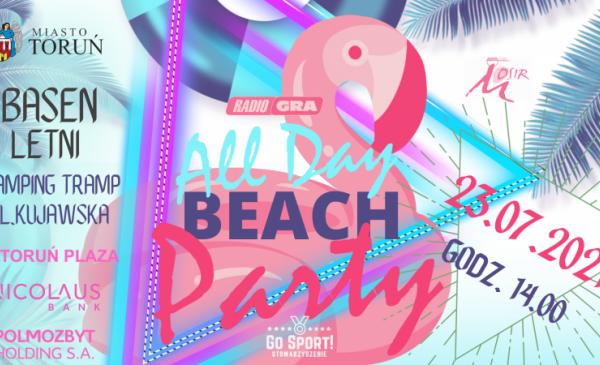 Plakat informujący o wydarzeniu All Day Beach Party