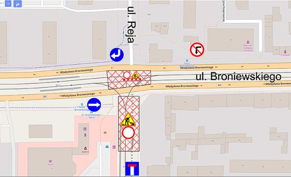 Mapka przedstawiająca sytuację na skrzyżowaniu ulic Broniewskiego i Reja