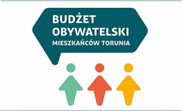 Grafika przedstawiająca logo Budzętu Obywatelskiego 2021 - trzy postaci w formie piktogramów w kolorach: zielonym, pomarańczowym i żółtym