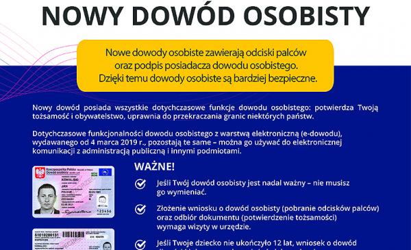 Fragment plakatu informującego o nowych dowodach