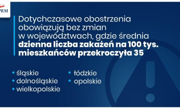 Grafika rządowa dot. obostrzeń w 5 województwach