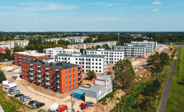 Na zdjęciu budynki Mieszkania Plus przy ul. Okólnej z lotu ptaka