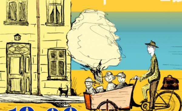 Plakat zachęcający do udziału w Rowerowej Masie Krytycznej - rowerzysta w starym stylu, na bicyklu, jedzie przez miasto, grafika w żółtych barwach