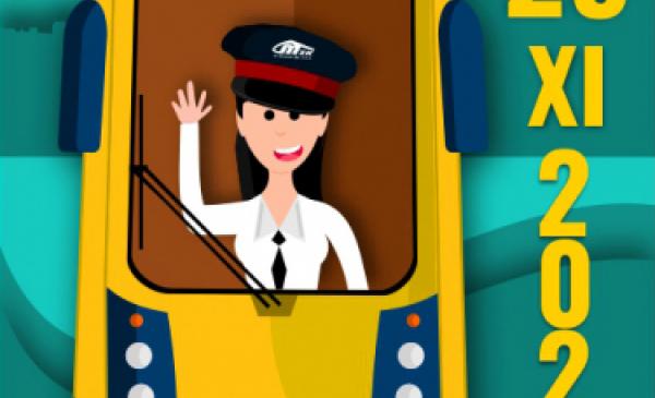 Plakat z okazji Dnia Tramwajarza, grafika przestawia motorniczego w tramwaju, machającego zza przedniej szyby