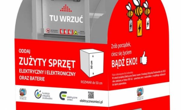 Wizualizacja czerwonego śmietnika na sprzęt elektroniczny
