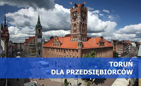 Na zdjęciu Rynek Staromiejski, na dole niebieski pasek z napisem Toruń dla przedsiębiorców