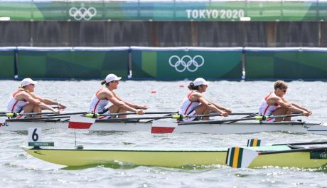 Polska czwórka podwójna podczas startu na Igrzyskach Olimpijskich w Tokio