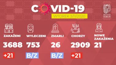 Grafika przedstawia liczbę zakażeń w Toruniu, stan na 3.11.2020