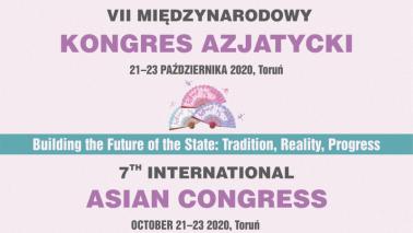 Plakat informujący w językacj polskim i angielskim o odbywającym się w formie zdalnej VII Międzynarodowym Kongresie Azjatyckim