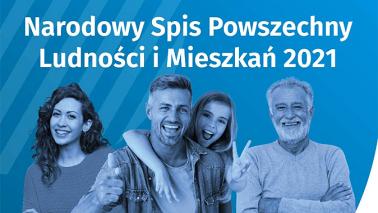 Rodzina i napis: Narodowy Spis Powszechny Ludności i Mieszkań. Niebieskie tło.