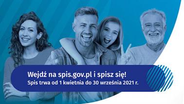 Grupa uśmiechniętych ludzi i napis: wejdź na spis.gov.pl i spisz się!