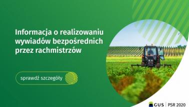 Grafika w kolorze zielonym zachęcająca do skorzystania z wywiadów bezposrednich podczas Powszechnego Spisu Rolnego