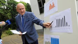 Na zdjęciu prezydent Michał Zaleski wskazuje długopisem na wykres