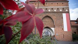 Brama Klasztorna z czerwonymi liśćmi dzikiego wina
