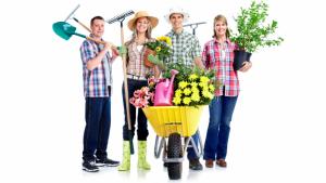 Na zdjęciu: czworo ludzi z roślinami i sprzętem ogrodniczym