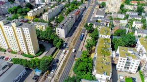 Na zdjęciu ulica Broniewskiego z lotu ptaka
