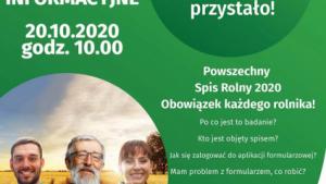 Plakat informujący o spotkaniu online dla rolników, związanym z Powszechnym Spisem Rolnym