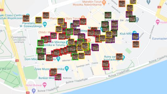 Screen interaktywnej mapy z punktami partnerskimi na starówce