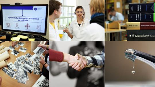 Na zdjęciu: ekran komputera, pracownicy medyczni, stos książek, strare materiały archiwalne, podawaniew ręki, kran