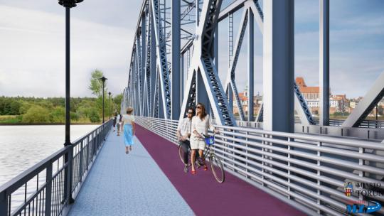 Na zdjęciu: wizualizacja pasa dla rowerzystów i pieszych na moście im. Józefa Piłsudskiego