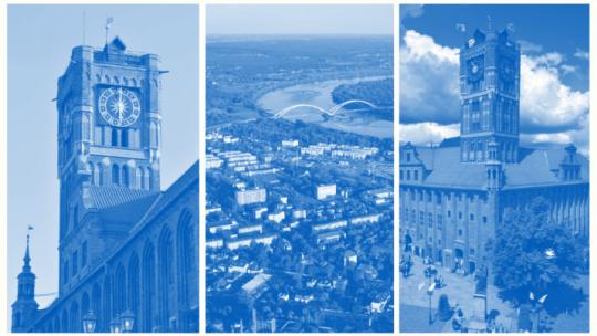 Strona tytułowa gospodarczego portfolio miasta z ratuszem i lotniczym widokiem miasta