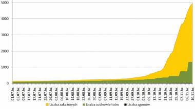 Na zdjęciu: wykres przedstawiający liczbę zakażonych koronawirusem, wyleczonych i ofiar śmiertelnych w Toruniu od początku pandemii
