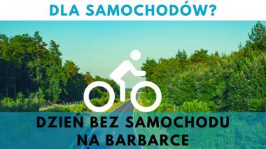Plakat wydarzenia z lasem i piktogramem roweru