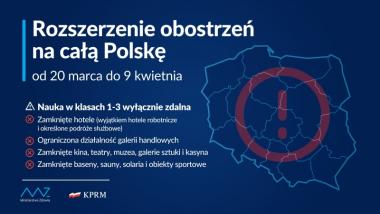 Grafika rządowa - rozszerzenie obostrzeń na całą Polskę od 20 marca do 9 kwietnia
