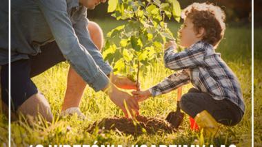 Plakat zapraszający do udziału w akcji sadzenia drzew - tata z synem sadzą wspólnie drzewko