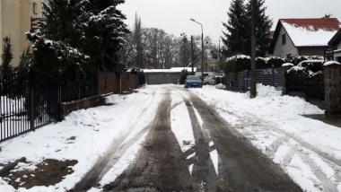 Ulica Miedza w Toruniu zimą