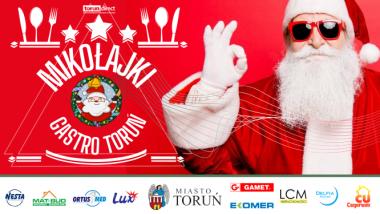 Plakat promujący akcję Mikołajki Gastro Toruń, na nim po prawej stronie św. Mikołaj z okularami przeciwsłonecznymi
