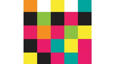 Mozaika kolorowych kwadratów tworząca uproszczony wizerunek bramy mostowej